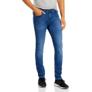 7 For All Mankind Men's Luxe Performance Plus Slimmy Tapered Jeans in Mid Blue Mid Blue DSQW448